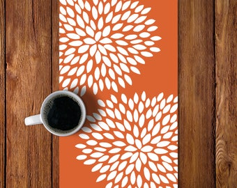 45 colors Dahlia Table Runner, Modern Flowers Table Runner, Copper Burnt Orange Table runner, Fall Autumn Thanksgiving Table runner decor