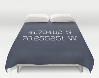 Personalized Coordinates Duvet Cover, latitude longitude bedroom decor, custom nautical navy blue lat lon queen duvet cover