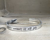 Count It All Joy James 1 2 Consider It Pure Joy Bible Verse Bracelet Scripture Bracelet Confirmation Gift for Wife Gift for Her
