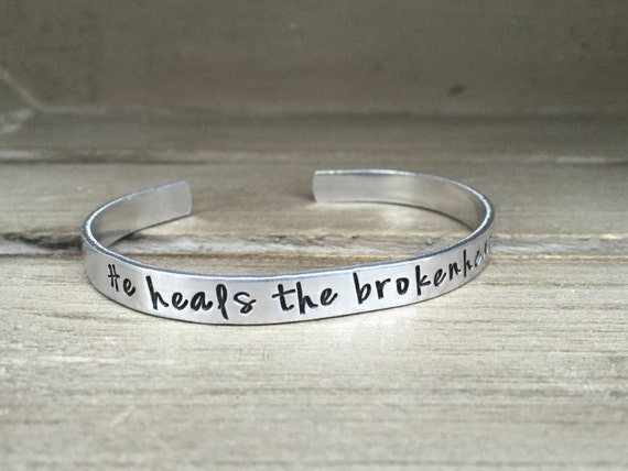 He Restores My Soul Silver Cuff Bangle Bracelet Jewelry Psalm 23:3 Stackable