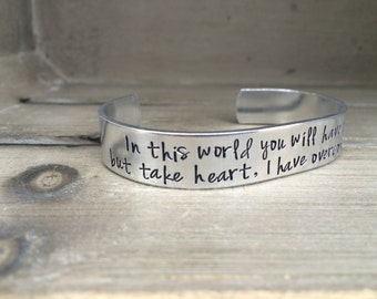 John 16:33 / But Take Heart I Have Overcome the World /Bible Verse Bracelet / Christian Gift / Gift for Her / Gift for Wife / Gift for Mom