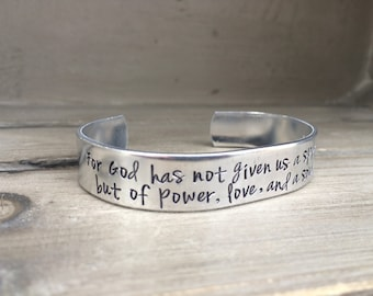 2 Timothy 1:7 / For God Has Not Given Us A Spirit of Fear / Power Love and A Sound Mind / Scripture Bracelet / Gift for Her / Gift for Wife