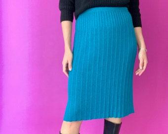 XS Violet Vibrant jewel tone textured vintage skirt Floral pencil skirt multi-colored vintage pencil skirt Olive and Cobalt Blue Skirt