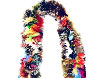 Vintage Multi-Colored Real Fur Boa