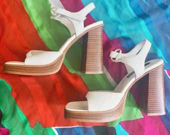fb0df21d4582e 7M | 90's White Candies Open Toe Platform Heels