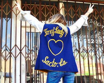 """Vintage Blue and Yellow Reversible """"Foxy Lady"""" Ebroidered Vest w/ Pins"""