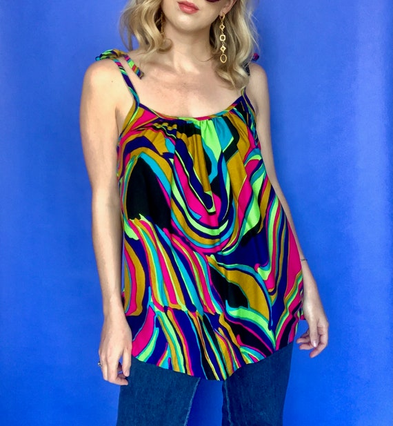 M | 70's Multi Color Psychedelic Print Tank Top