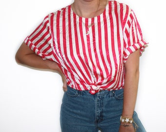 XL | 90's Pink and White Striped Silk Short Sleeve Blouse