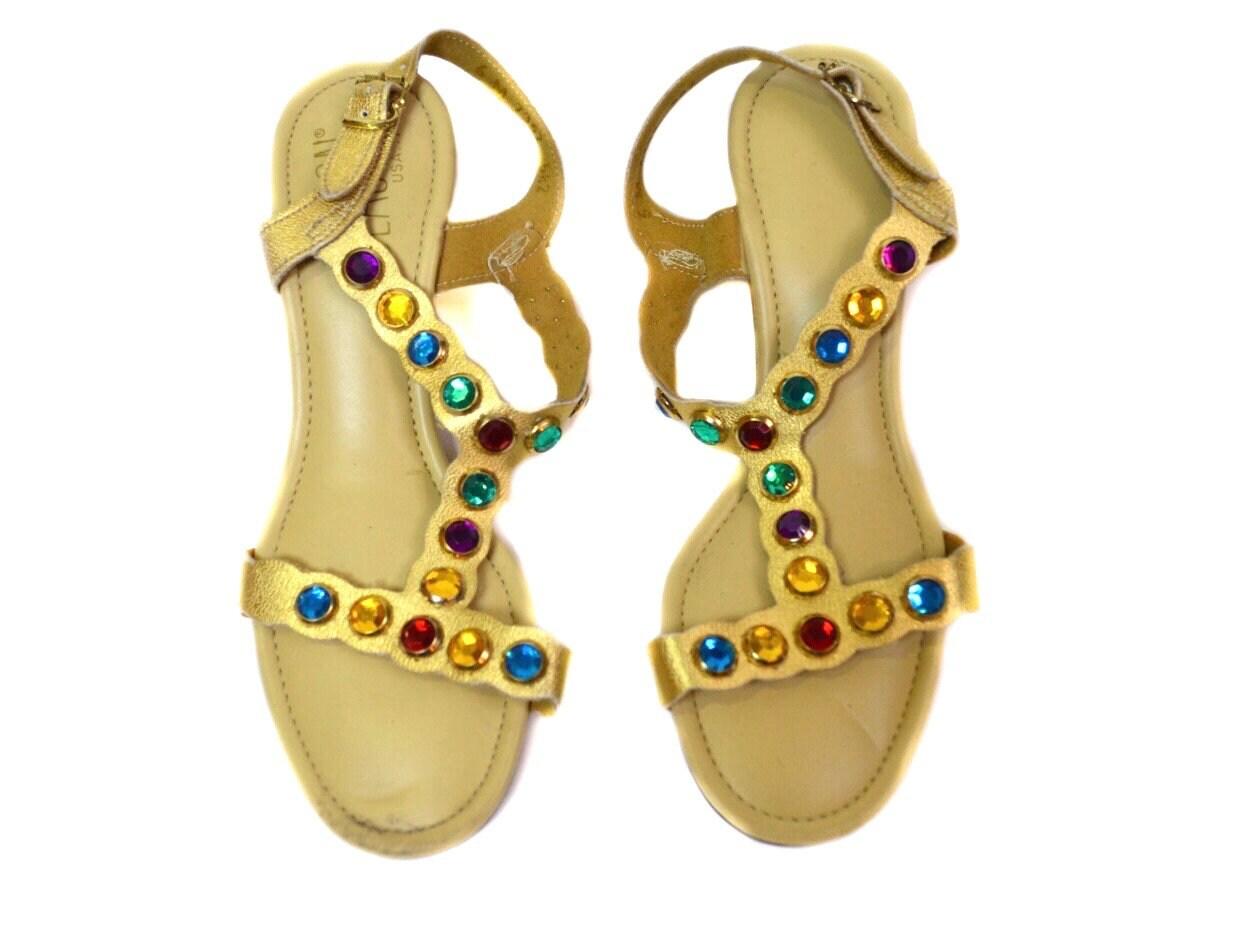 aae0d9c05e66 6M Vintage Beacon Gold Multi-Colored Rhinestone Sandals