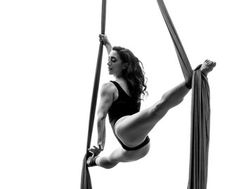 Dance, Aerialist, Aerial Arts, Silks, Tissue, Live, Performance, Giclée Print, Archival, Photography, Black and White