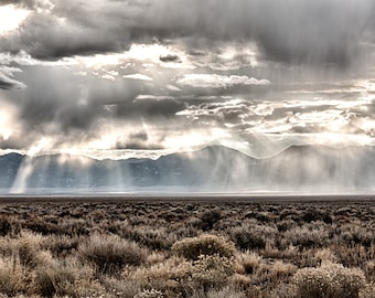 Ice Clouds, Nevada, Desert, Landscape, Travel, Giclée Print, Archival, Photograph, Color, Storm, Clouds, Mountains