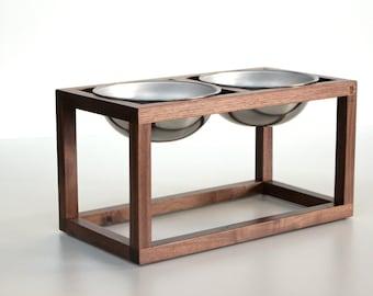 Minimalist Modern Wood Dog Feeder - Double