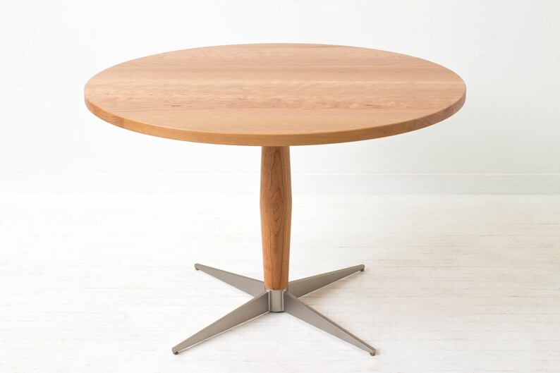 Peppermint Pie Pedestal Table - Minimal Danish Modern Round Dining Table