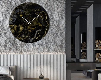 Extra Large Glass Resin Wall Clock Modern Wall Lighting with Abstract Art Design. Big Wall Clock for Kitchen or Bedroom Wall Art Clock