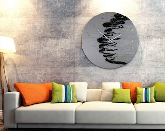 35 Inch Extra Large Wall Clock Modern Lighting for Bedroom or Office Wall Decor, Big Clock for Kitchen with Abstract Art Painting on Glass