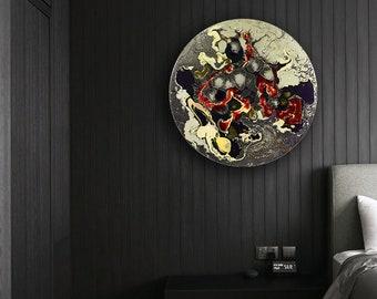 Extra Large Wall Light Circular Wall Art for Modern Home Decor, Glass Wall Art Modern Wall Sconce, Glass Wall Lighting Modern Wall Art