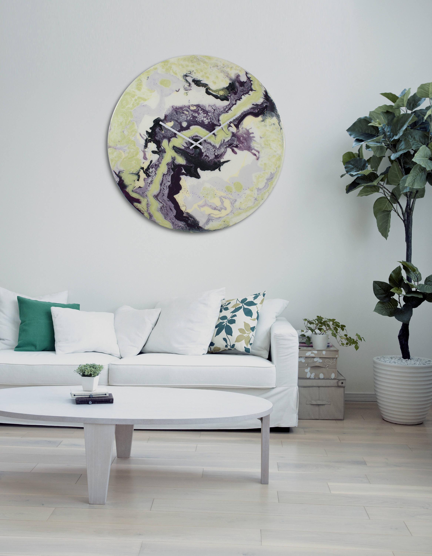 grand art circulaire grand mur horloge clairage moderne etsy. Black Bedroom Furniture Sets. Home Design Ideas