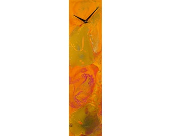 Unusual Silent Orange Modern Wall Clock, Rectangular Abstract Wall Art Unique Acrylic Pour Painting, Modern Housewarming Gift for New Home