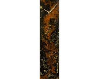 Modern Wall Clock Orange Gold Home Decor with Lighting, Orange and Brown Abstract Decor, Rectangular Clock Contemporary Glass Wall Art
