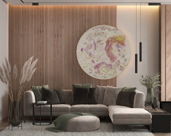 Extra Large Circular Wall Art with Lighting, Illuminated Glass Artwork Modern Home Decor, Abstract Circular Painting with Lights