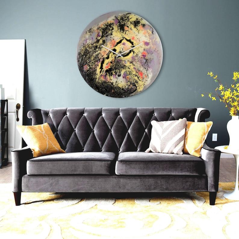 Extra Large Wall Clock Glass Art Modern Home Decor