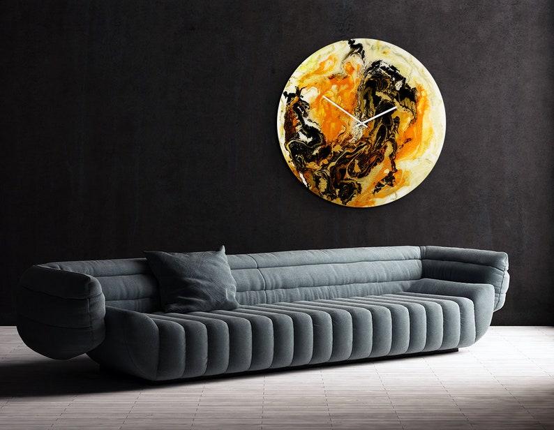 Extra Large Wall Clock Glass Art Modern Home Decor Orange