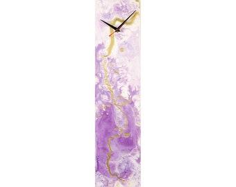 Minimal Wall Clock   White Purple Wall Clock   Modern Wall Decor   Contemporary Clock   Abstract Clock   Glass Painting   Unique Wall Clock