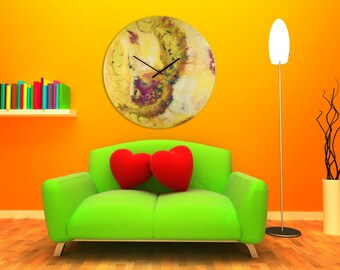 36 Inch Large Wall Clock with Modern Wall Lighting, Circular Glass Wall Art Modern Home Decor, Round Abstract Wall Art Modern Clock for Wall