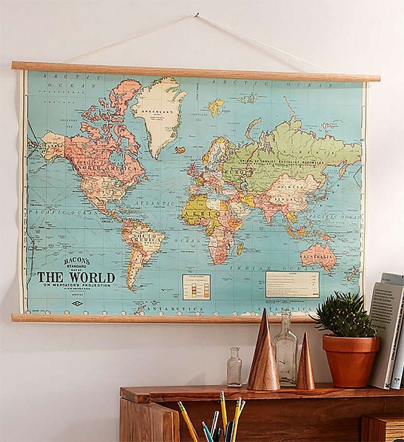 Vintage world map chart poster and optional hanger kit on map mirror, map scrapbook, map plastic, map hwy 224 clackamas 32nd, map chair, map of downtown denver rtd, map bag, map accessories, map skirt,