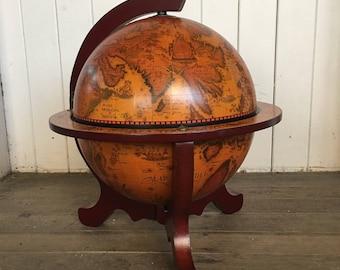 World map globe storage bar - vintage