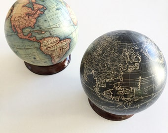 Vintage world map globe with optional wooden stand