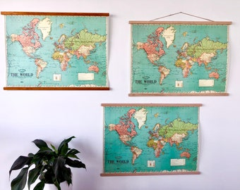 """Vintage world map chart poster print hanging chart / pull down style wall map 20x28"""" / 52x72cm"""