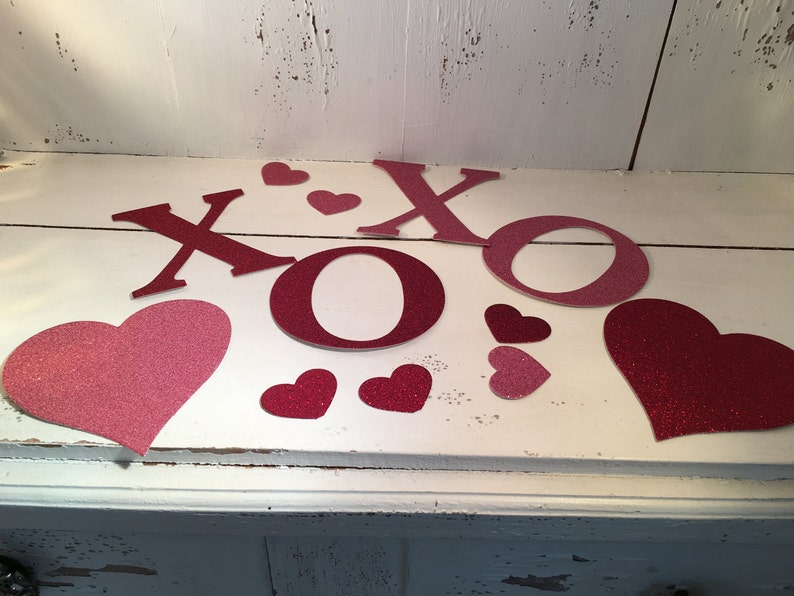 Valentine, Hearts, Jumbo Confetti, Glitter Card stock, XOXO, Valentine's  gift, cut outs, die cut shapes, red, pink, love