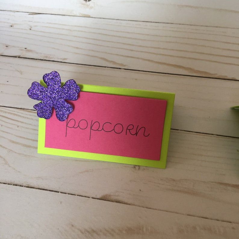 Candy Buffet Place Cards Lime Green printed Glitter Food Tent Tags Hawaiian Pink labels blank Dessert signs Tags Mini signs
