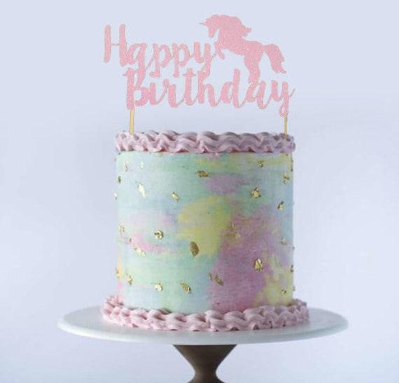 Prime Glitter Cake Topper Unicorn Birthday Children Girl Pink Etsy Personalised Birthday Cards Veneteletsinfo