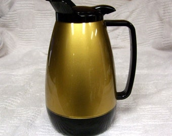 Thermo Serv Thermoserv West Bend Metallic Gold Black Coffee Tea Pitcher Carafe Server Hot Cold Drinks Thermo Serve Insulated Quart Thermos