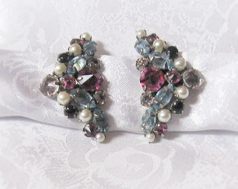 Schreiner of New York Vintage Earrings - Multi Color Pronged Stones