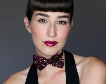Maroon Glitter Bow Tie Bow, Maroon Glitter Hair Bow