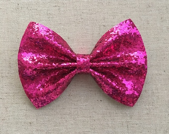Magenta Pink Glitter Bow Tie Bow, majenta Glitter Bow Tie Bow, Pink Glitter Hair Bow