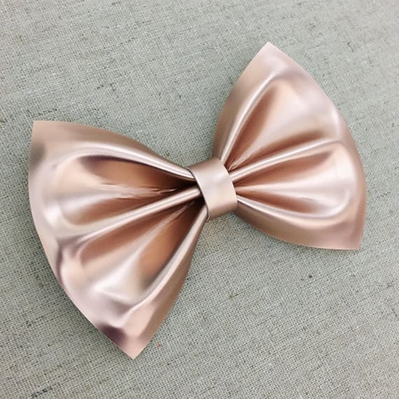 Rose Gold Matte Vinyl Faux Leather Bow Tie Rose Gold Hair Etsy