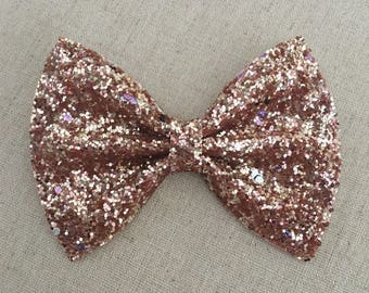 Gold and Pink Glitter Bow Tie, Gold and Pink Glitter Hair Bow, Glitter Hair Bow