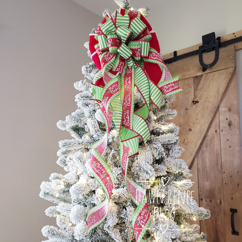 Christmas Tree Topper Bow Tree Topper Red White Green image 0