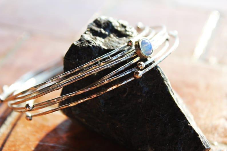 artisan silver bracelet,Opal bangle,Hammered Sterling Silver Stacking Bangles Solid Sterling Silver stacking bangles