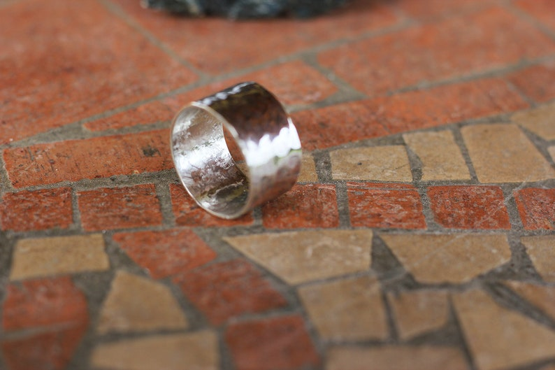 Hammered silver unisex ring