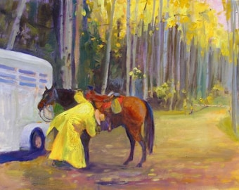 Rainy Roundup - signed and numbered limited edition giclee print of a cowboy getting his horse ready for a fall roundup day- 11 X 14 image