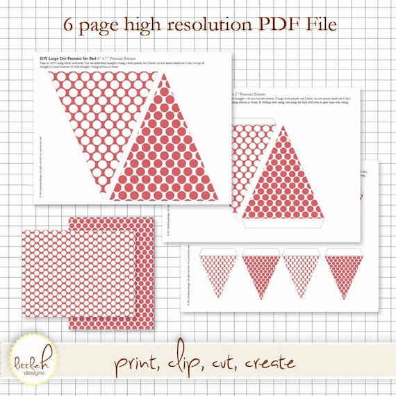 7233f963213d9 Printable Pennant and Paper Set - Large Dots Red - Multiple Sizes and  *bonus dollhouse size