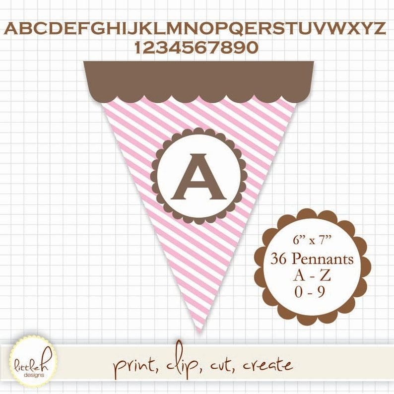 9230506fe8717 Printable Pennant SWEET SHOP - A thru Z & 0 thru 9 - Create any message! 36  pennants in all.