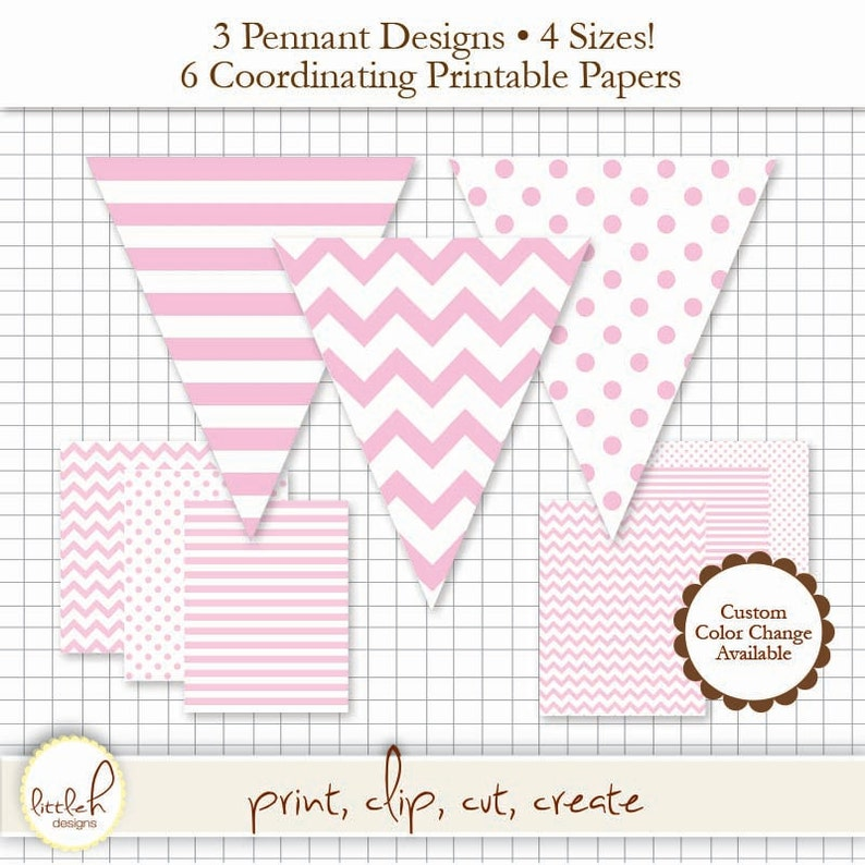 2410c66b501ae Printable Pennant & Paper Set - Light Pink Pennant 3 Designs - 4 Sizes  Each. 6 Papers. Stripe, Chevron and Polka Dot