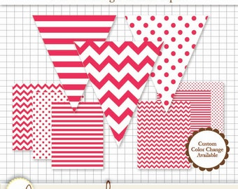 Printable Pennant & Paper Set - Red Pennant 3 Designs - 4 Sizes Each. 6 Papers. Stripe, Chevron and Polka Dot