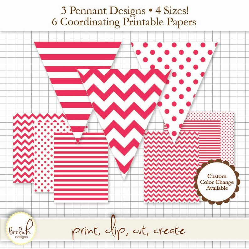 a93e5a1485330 Printable Pennant & Paper Set - Red Pennant 3 Designs - 4 Sizes Each. 6  Papers. Stripe, Chevron and Polka Dot